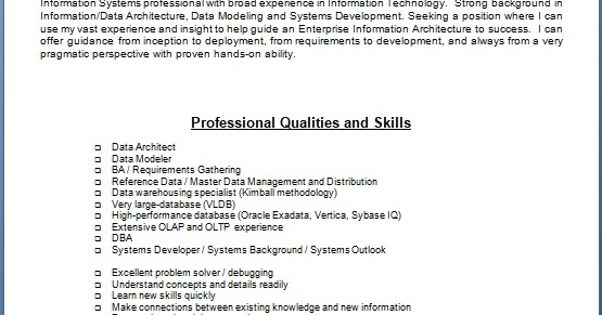 Data Architect Sample Resume Format In Word Free Download