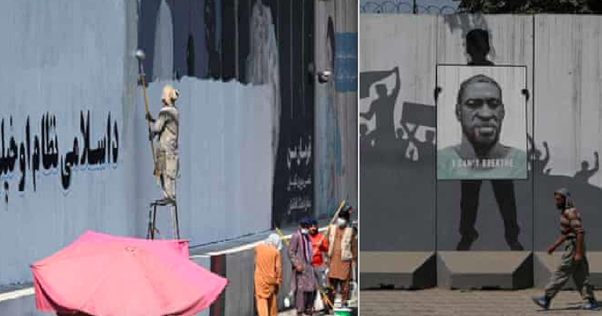 The Taliban Paint Over Murals In Kabul With Victory Slogans