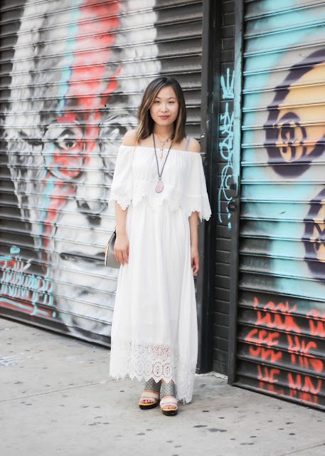 White Off the Shoulder Maxi Dress Outfit