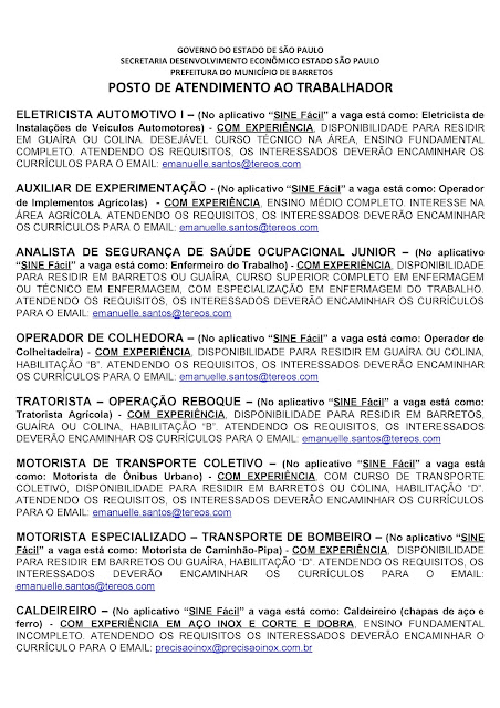 VAGAS DE EMPREGO DO PAT BARRETOS PARA 04-09-2020 PUBLICADAS NA TARDE DE 03-09-2020 - PAG. 7