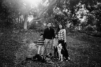Black and white family portrait. Family Holiday photos with Morning Owl Fine Art Photography San Diego CA.