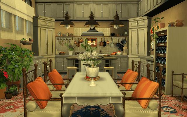 cuisine décorée sims 4