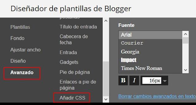 Añadir CSS en Diseñador plantillas