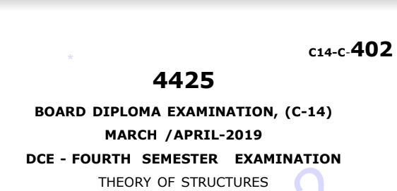 Sbtet Theory of Structures Previous Question Paper c14 March/April 2019