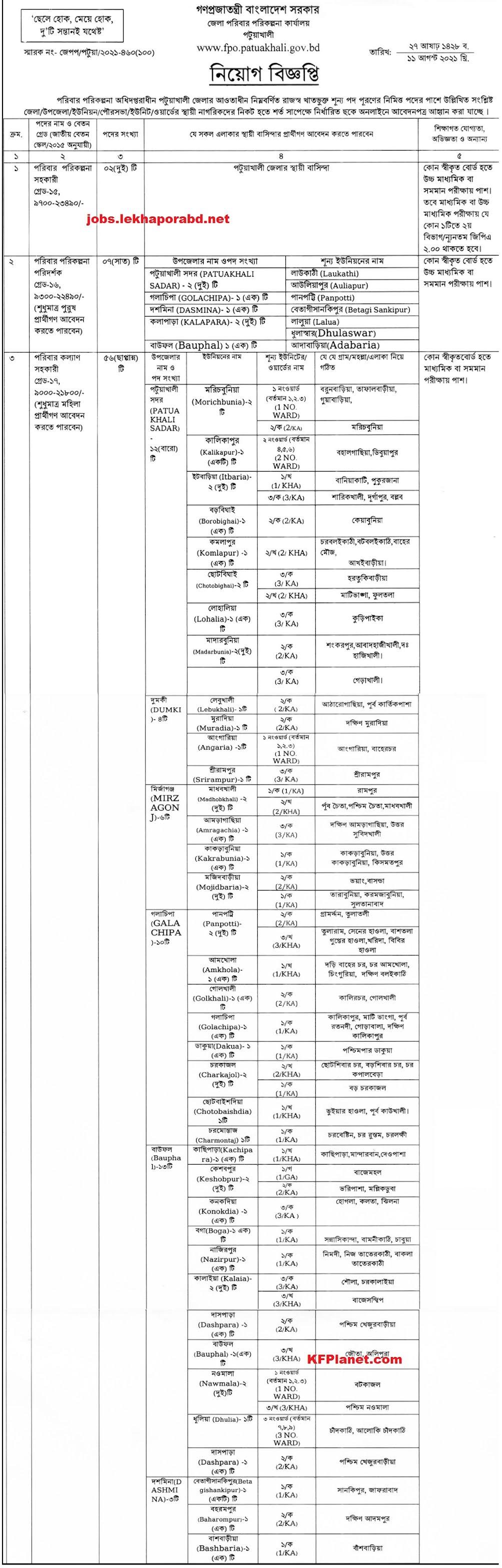 পটুয়াখালী জেলা পরিবার পরিকল্পনা নিয়োগ বিজ্ঞপ্তি ২০২১ - Patuakhali District poribar porikolpona job circular 2021 - স্বাস্থ্য ও পরিবার পরিকল্পনা অধিদপ্তরে নিয়োগ বিজ্ঞপ্তি ২০২১