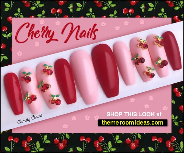 Cherry Nail Set  cherry nails cherry jnail design cherry fruit nails false nails cherries