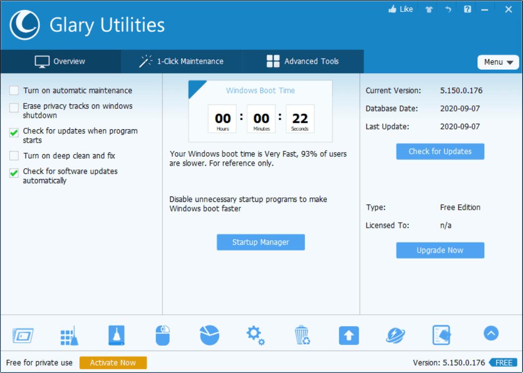 Glary Utilities Main Interface Screenshot