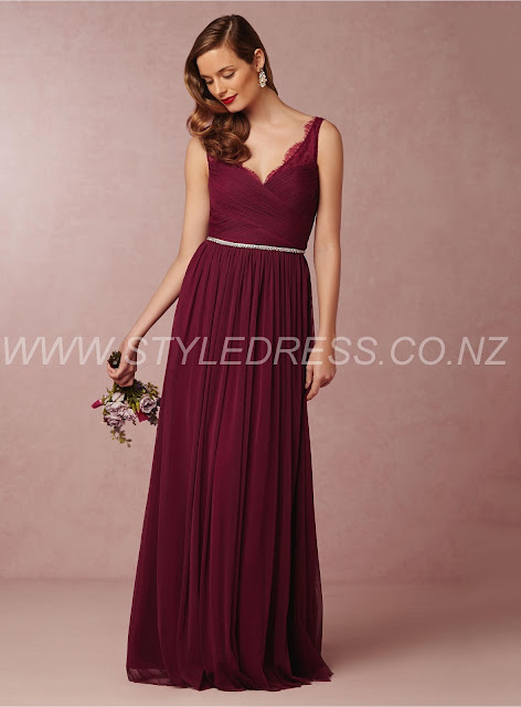 V-Neck Napier Floor-Length A-Line Fair Tulle Beading Bridesmaid Dress