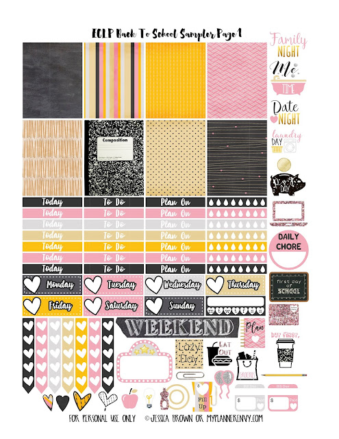 Back To School 2 Sampler Page 1 for the Vertical Erin Condren on myplannerenvy.com