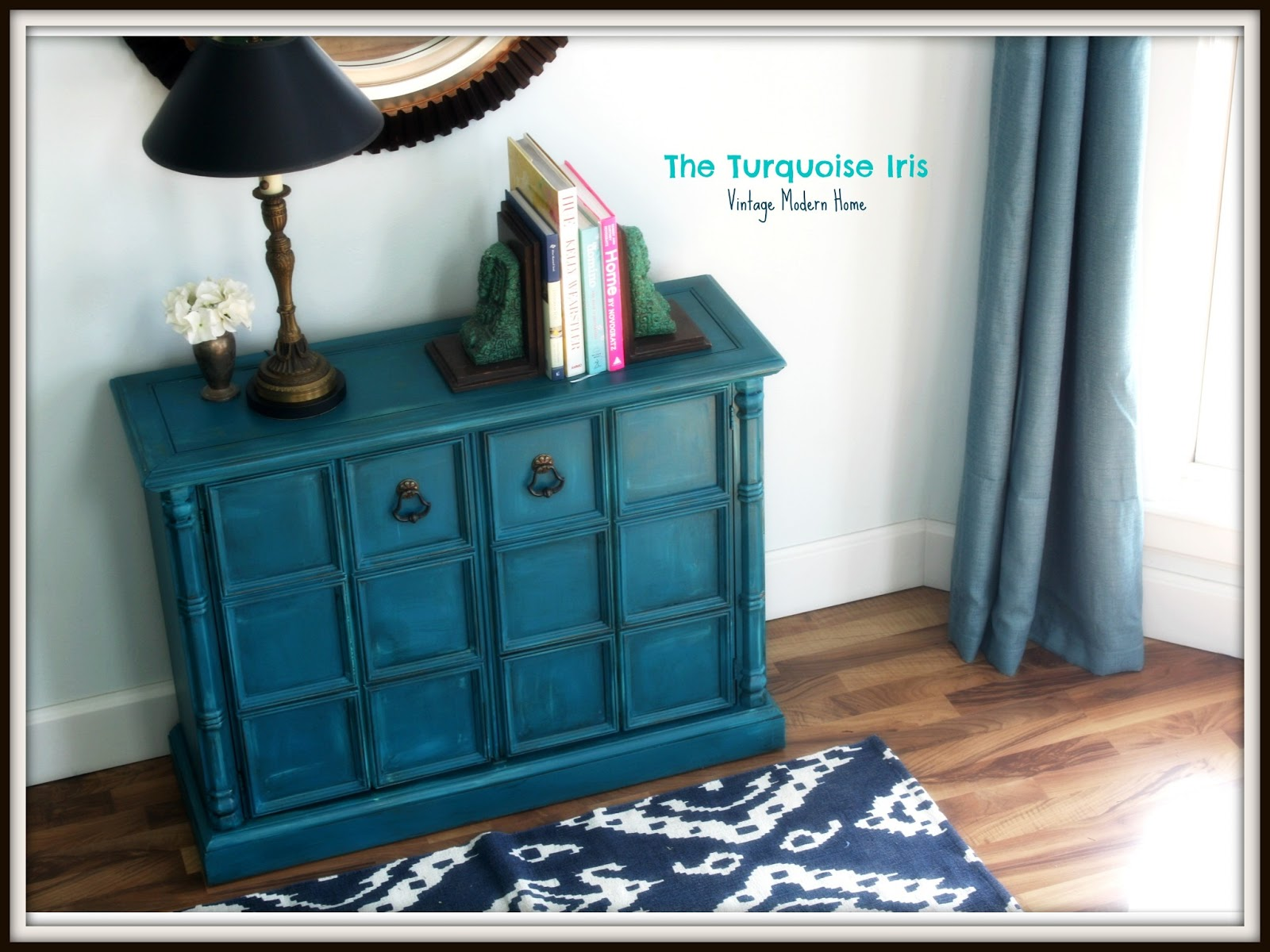The Turquoise Iris Furniture Amp Art Teal Vintage Foyer Table