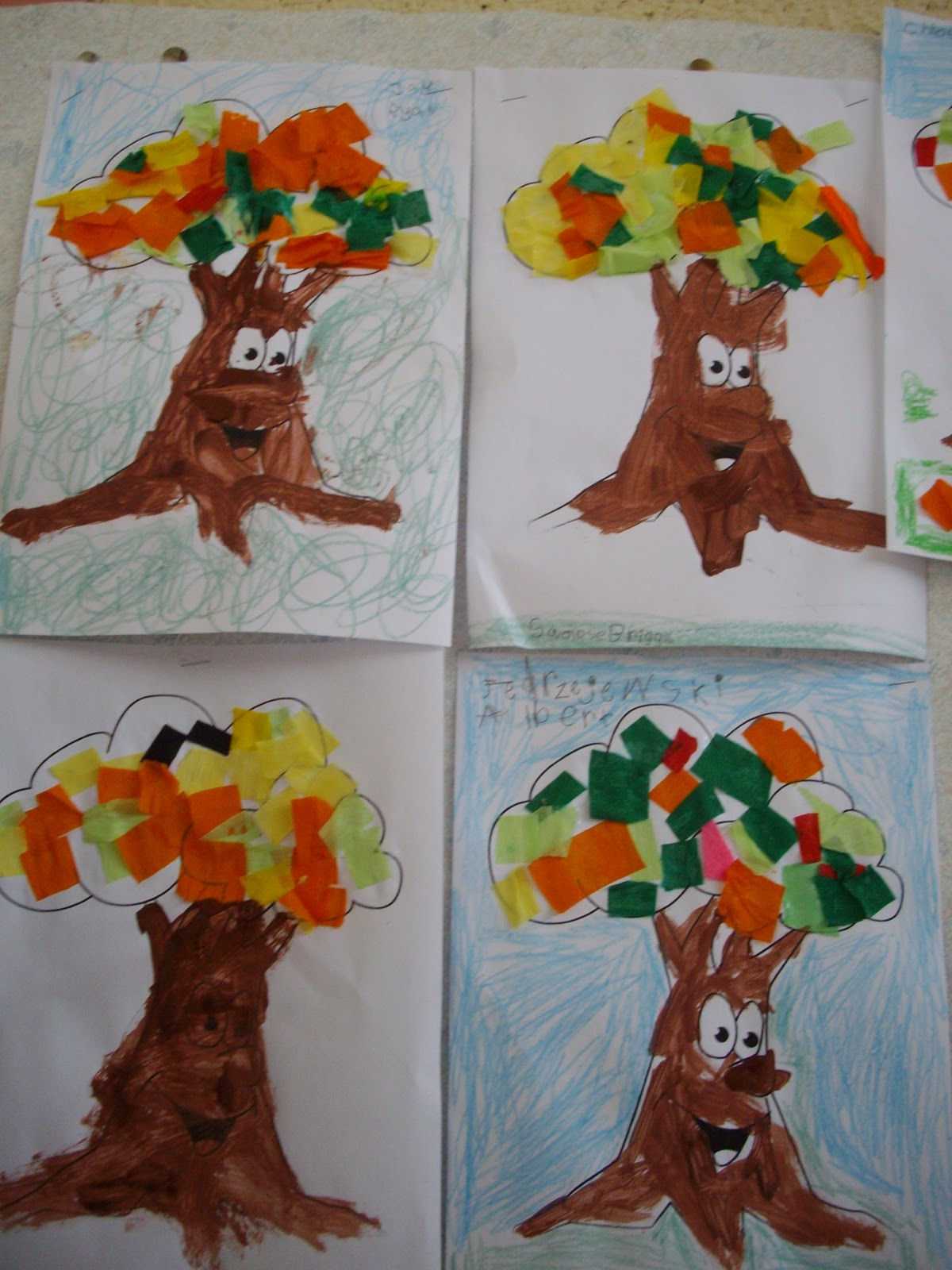 Art Music And Drama Page Autumn Tree Collage Senior Infants