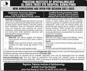 Pakistan Institute Of Ophthalmology Rawalpindi Admissions