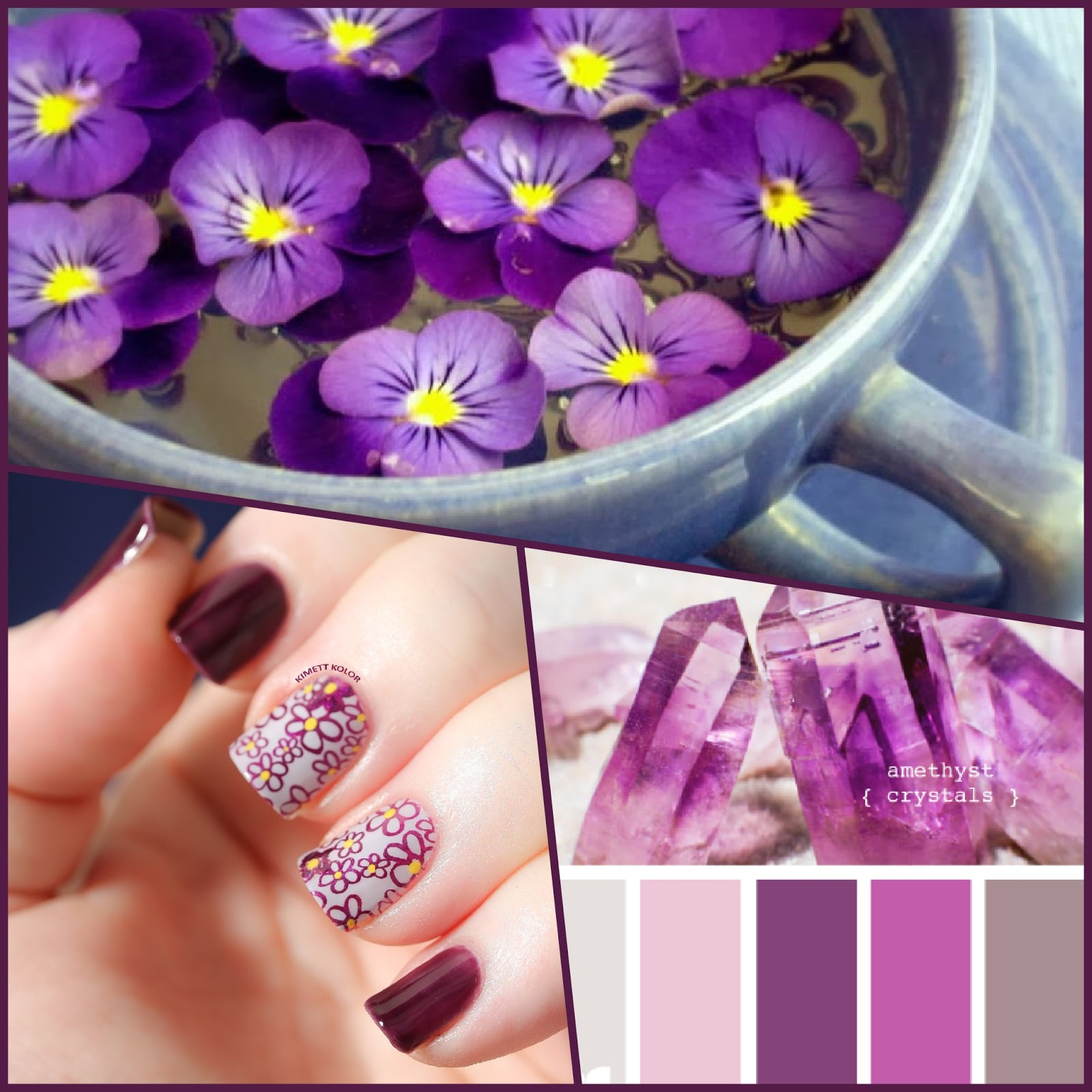 Amethyst and Violets February Nail Art by KimettKolor