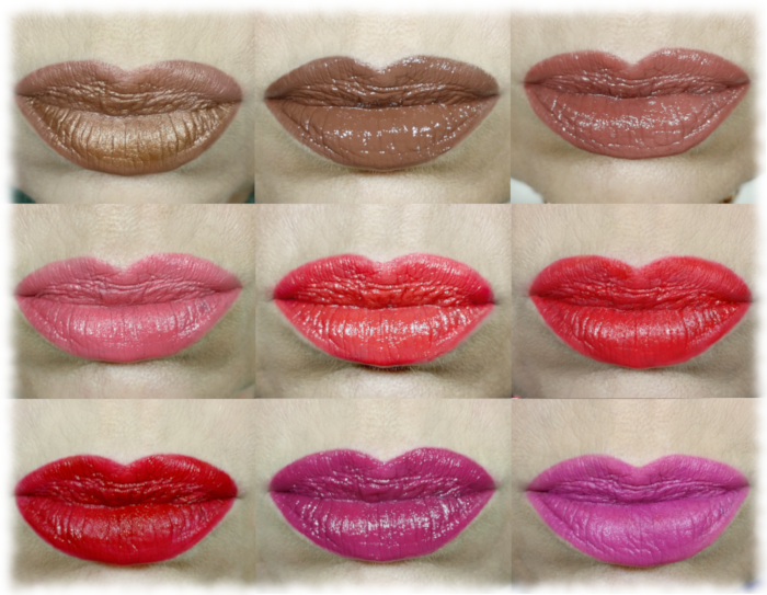 Collage of May/June 2020 favourite lip colours
