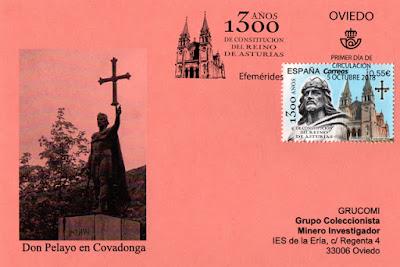 Tarjeta con el matasellos PDC del sello del 1300 aniversario del Reino de Asturias