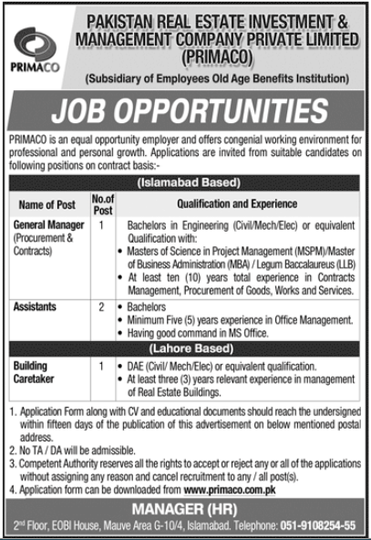 Pakistan Real Estate Investment & Management Company PRIMACO Latest Jobs in Pakistan - Download Application Form - www.primaco.com.pk