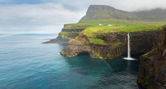 The isolated village of Gasadalur, in the Faroe Islands in the North Atlantic