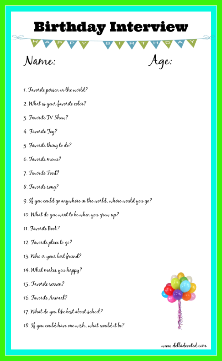 picture regarding Free Printable Birthday Games for Adults named Printable Birthday Job interview For Youngsters - Della Dedicated