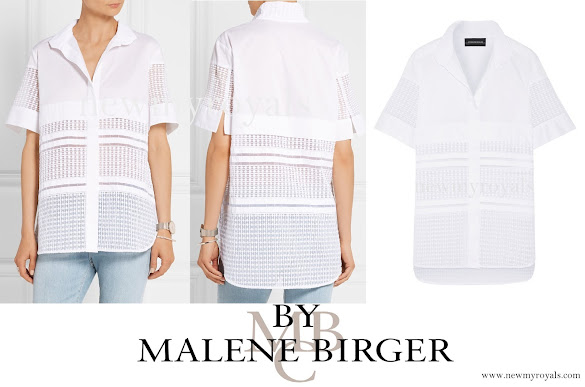 Crown Princess Victoria wore BY MALENE BIRGER Elaido paneled cotton-blend and embroidered organza shirt