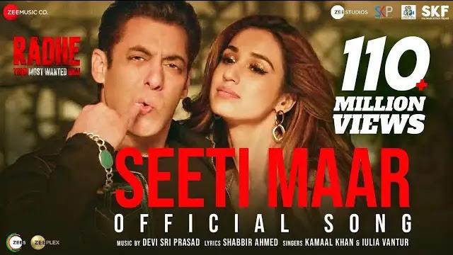 Seeti Maar Lyrics Radhe Movie Salman Khan Disha Patani