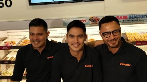 Derek Ramsay, Piolo Pascual & Dingdong Dantes visit the newly renovated Dunkin Aurora, Quezon City branch