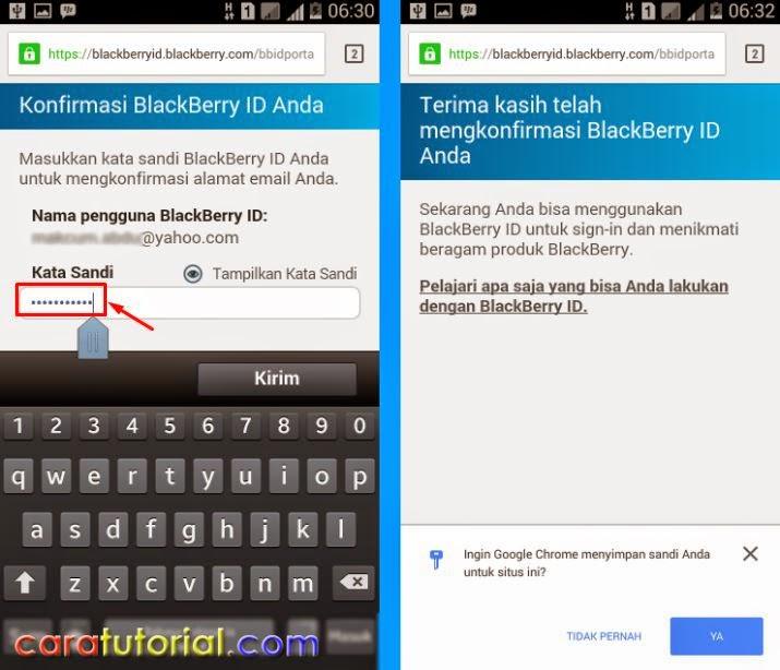 Konfirmasi Berhasil Email Blackberry Id untuk BBM android