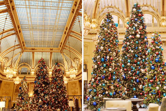 Christmas in San Francisco: Gaze at the beautiful Christmas trees at the Palace Hotel, one of the city's most iconic and luxurious hotels
