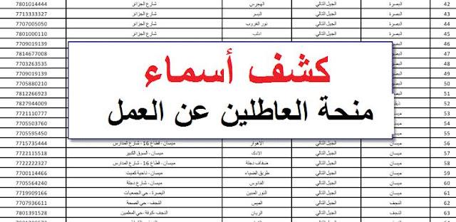 اسماء الوجبة التاسعة المشمولين في منحة العاطلين عن العمل 2019 عبر موقع وزارة العمل العراقية