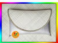 Clutch Pandan Polos Kombinasi Lorena Silver