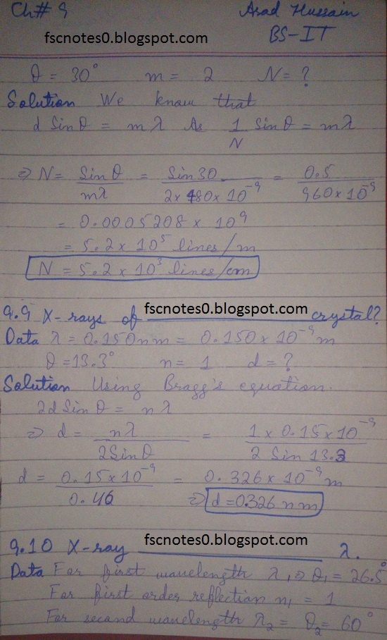 F.Sc ICS Notes: Physics XI: Chapter 9 Physical Optics Numerical Problems Asad Hussain 4