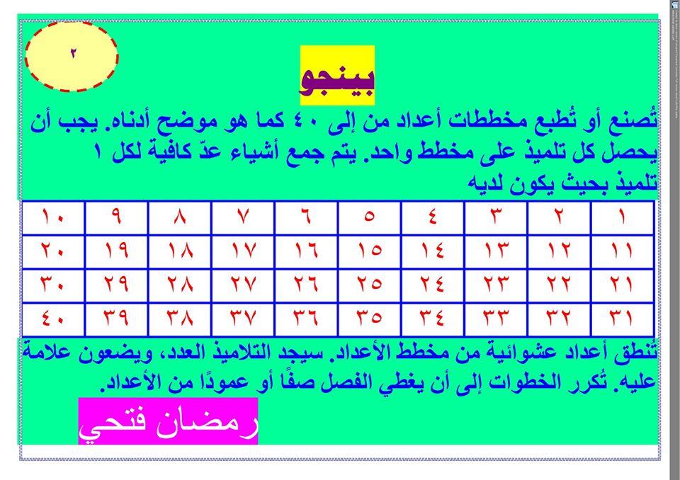 ألعاب نافذة الرياضيات للصف الأول الابتدائي ترم أول 2