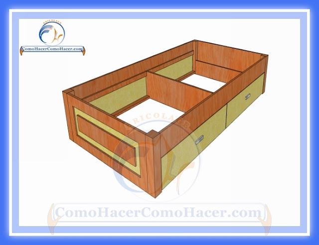 C mo hacer una cama medidas plano gu a construcci n web del bricolaje dise o diy - Estructura cama cajones ...