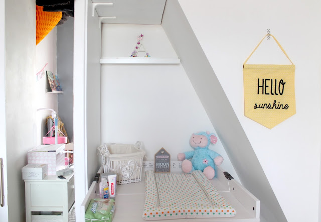 yellow hello sunshine flag in grey yellow and pink themed nursery with ikea changing table