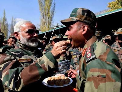 PM modi diwali with Indian army