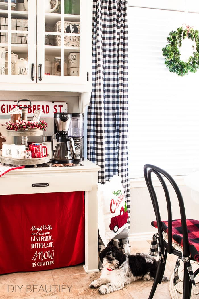 Christmas cocoa bar with tiered tray decor