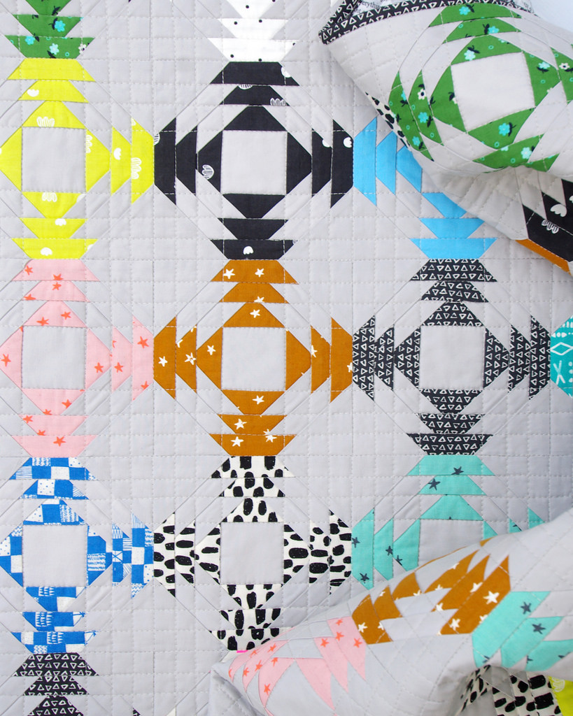 Pineapple quilt featuring the Printshop collection by Cotton + Steel