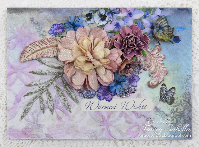 """Warm Wishes"" mixed media card by Tracey Sabella. https://bit.ly/2uA73YW #49andmarket #finnabair  #primamarketing #mixedmedia #mixedmediacard #shabbychic #shabbychiccard #lindysstampgang #usartquestprills #artanthology #helmar"