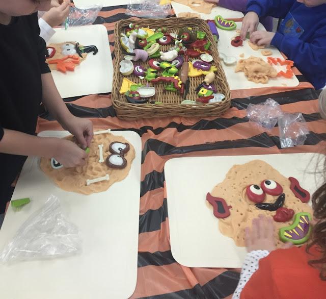 adding pumpkin play dough and pumpkin faces to your play dough center for your kindergarten halloween party