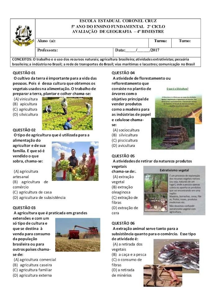 Avaliação de Geografia 5º Ano 4º Bimestre.