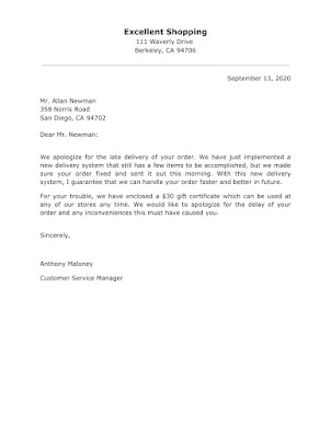 Apology letter template for late Delivery