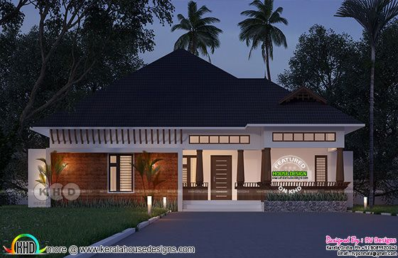 Night view rendering of Traditional Kerala sloping roof style