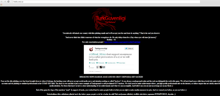 Syrian Electronic Army's own website got hacked by Turkish hacker