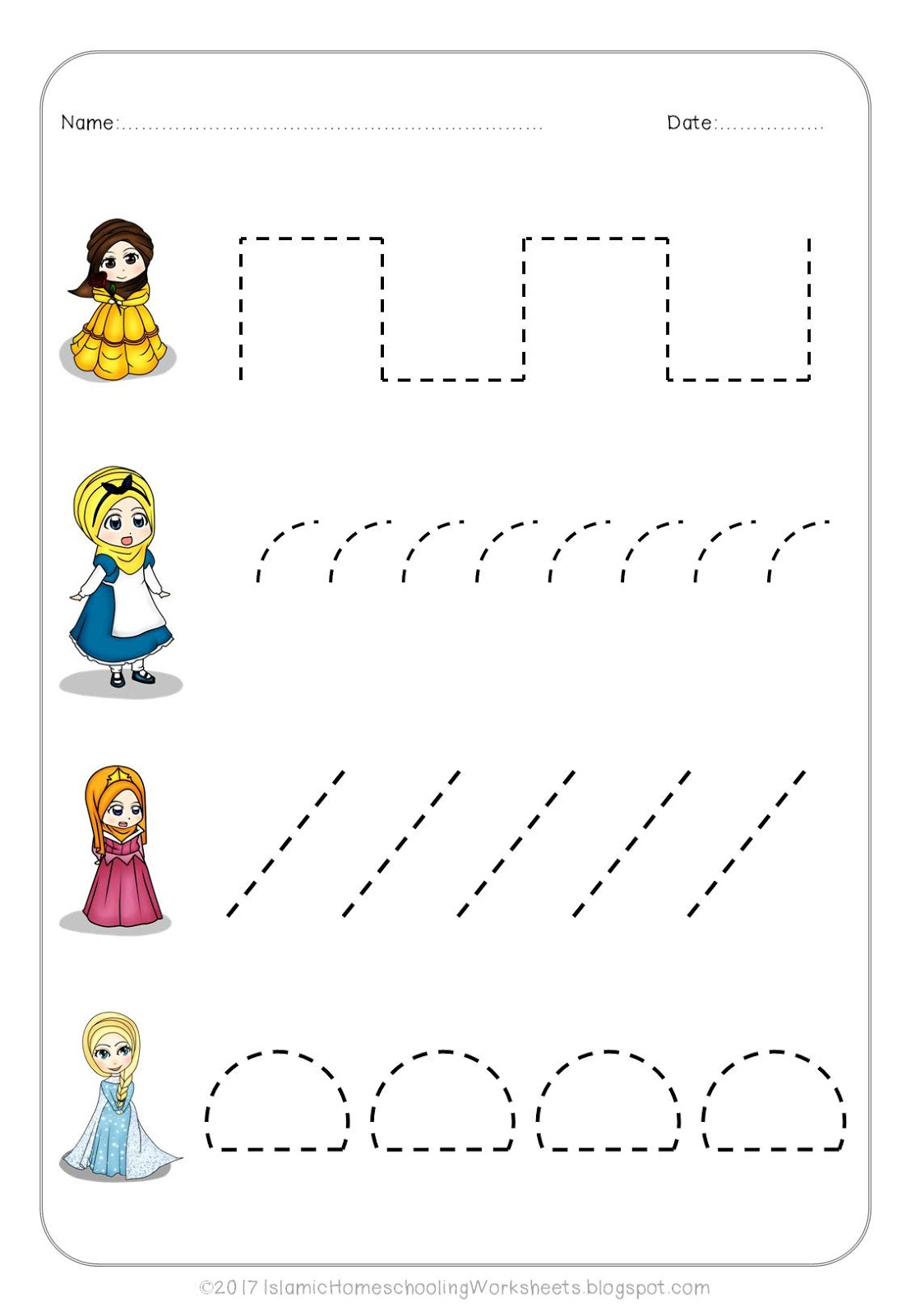 Princess Preschool Worksheet Print