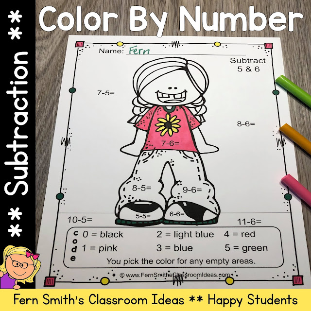 Click Here to Download Only the Back to School Happy Students Color By Number Subtraction Printables Resource for Your Classroom Today!