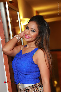 Telugu Actress Srilekha Reddy Latest HD Pos in Sleeveless Blue Top at Muse Art Gallery  0057.JPG