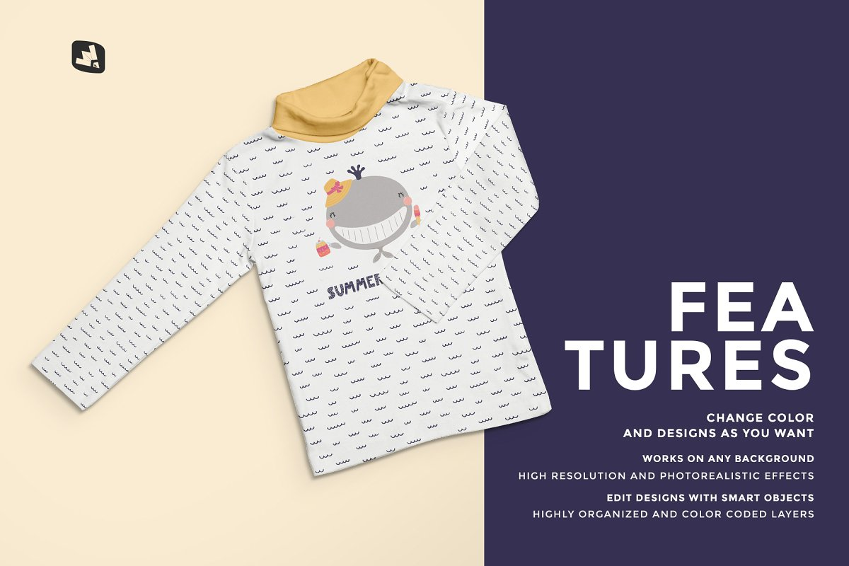 Toddler Turtle Neck Tshirt Mockup (PSD) - Ngcloudy.com