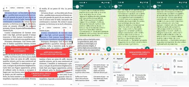 copia incolla di testo e immagini con cronologia