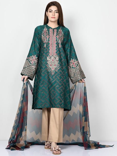 Limelight green color printed jacquard suit winter pret collection