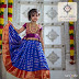 Kid in Blue Stripes Lehenga with Collar Blouse