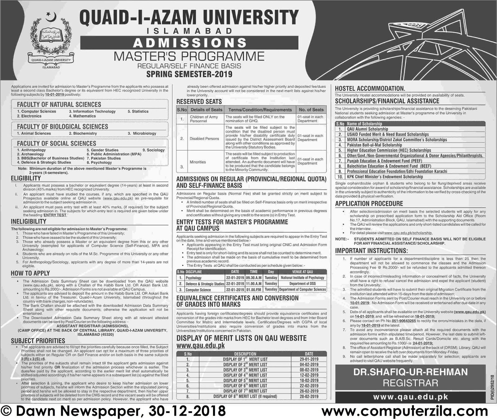 Admissions Open For Spring 2019 At QAU Islamabad Campus